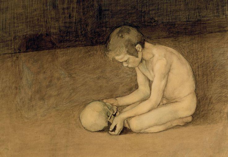 deathandmysticism:  Magnus Enckell, Boy with Skull, 1893