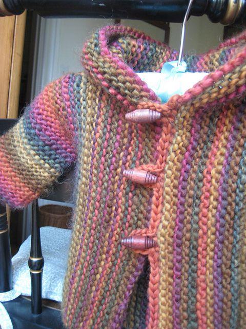 Snug by Hinke - free pattern Ravelry: LAMamas Baby Hoodie in Crystal Palace Yarns Chunky Mochi 807 Autumn Rainbow