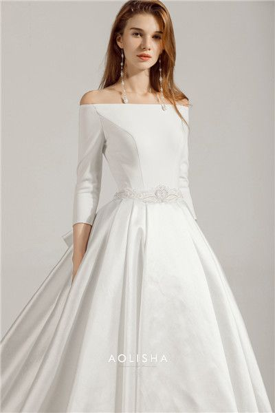 8f893c78b3c0 Long Sleeve Off-Shoulder with Crystal and Pearl Ball Gown