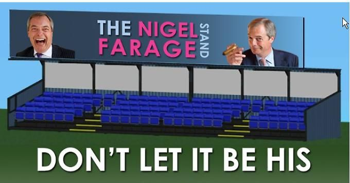 Hungerford Town football club threaten to name their new stand after Nigel Farage unless they raise £35,000