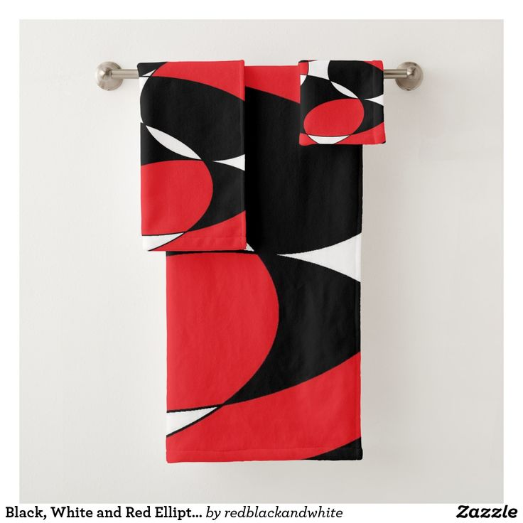 Black, White and Red Ellipticals Bath Towel Set by Khoncepts