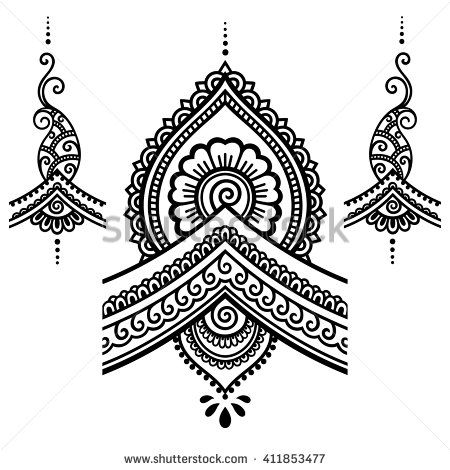 Henna tattoo flower template.Mehndi. - stock vector