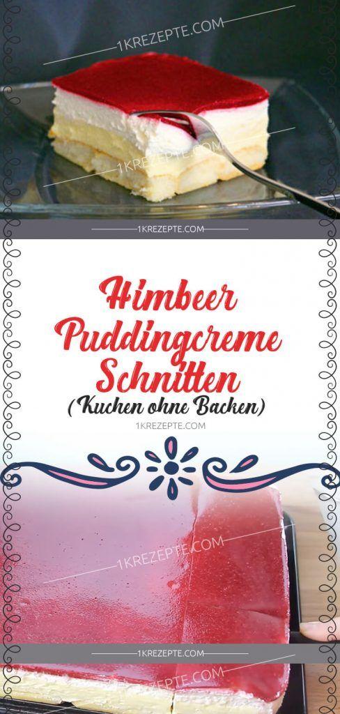 Himbeer-Puddingcreme Schnitten (Kuchen ohne Backen