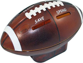 Money Savvy Football bank - fun for kids to learn how to organize money - SAVE, SPEND, DONATE and INVEST.  Fiscal Fitness Training for Money-Smart Kids! $19.99 at www.msgen.com