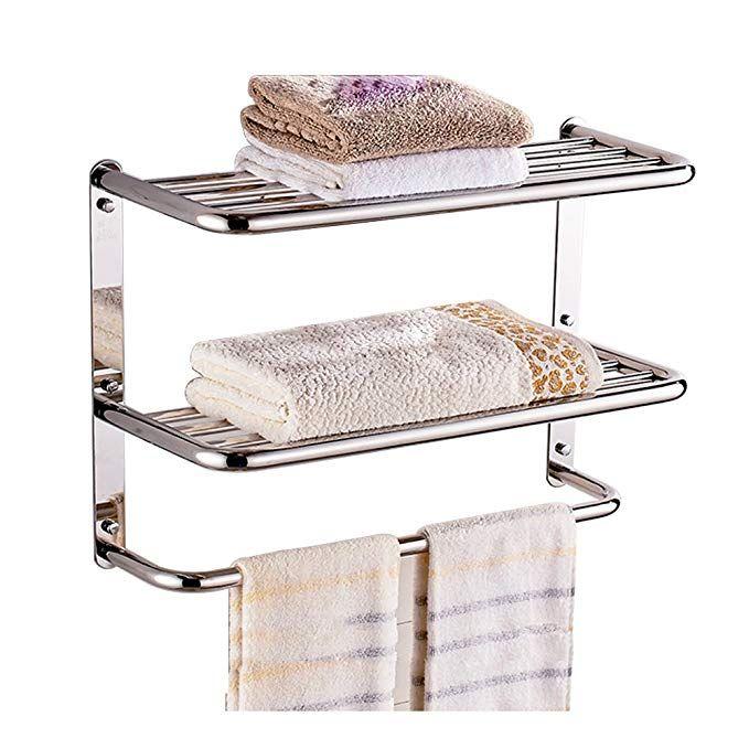 Luant 24 Inch Bathroom Shelf 3 Tier Wall Mounting Rack With Towel Bars Review Bathroom Shelves Towel Rack Shelves