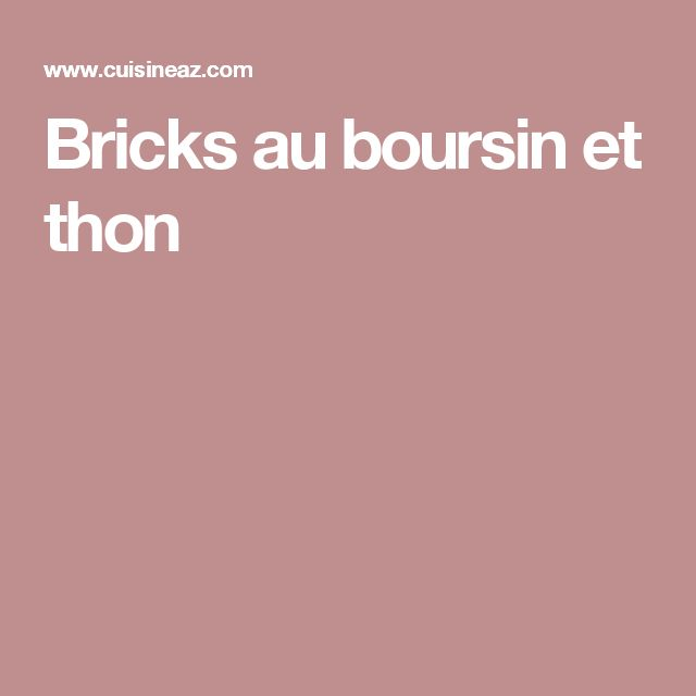 Bricks au boursin et thon