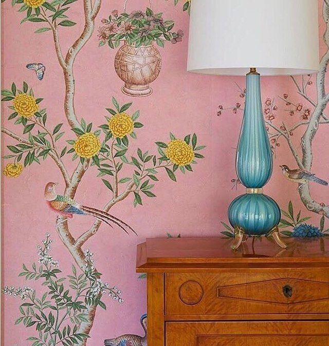 """656 Likes, 23 Comments - Lance Jackson (@parkerkennedyliving) on Instagram: """"The details of this @graciestudio pink chinoiserie wallpaper are just outstanding! I found this…"""""""