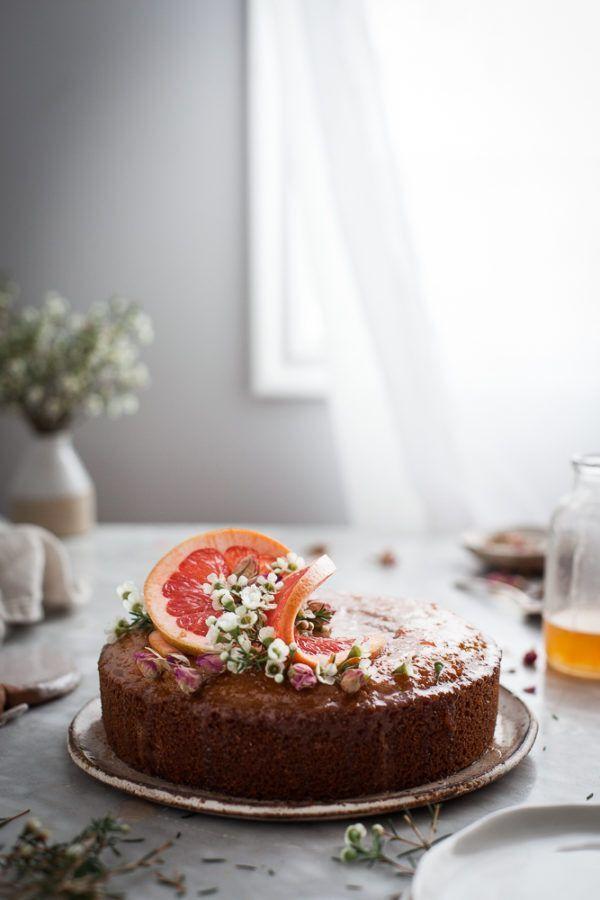 semolina cake with rose and grapefruit syrup