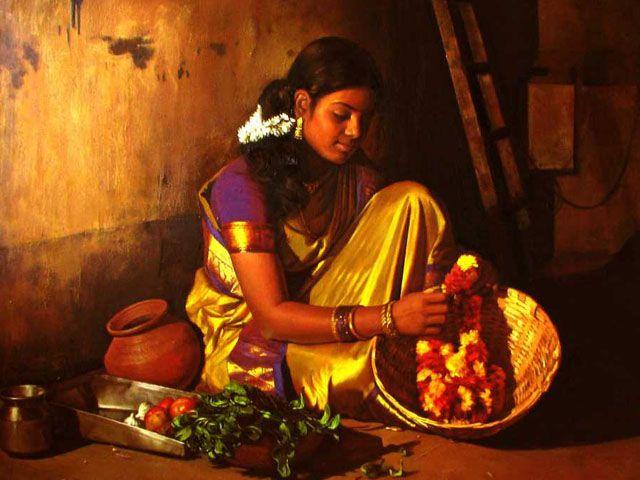 Tamil girl making garland - Painting by S. Elayaraja