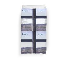 Love word on window photograph romantic valentines day Duvet Cover