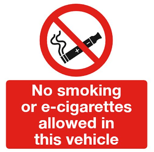 No Smoking or E-cigarettes vehicle sign. E-cig vehicle sign. 100mm x 100mm. Available as a self-adhesive sticker sign or an inside window fixing sticker sign.