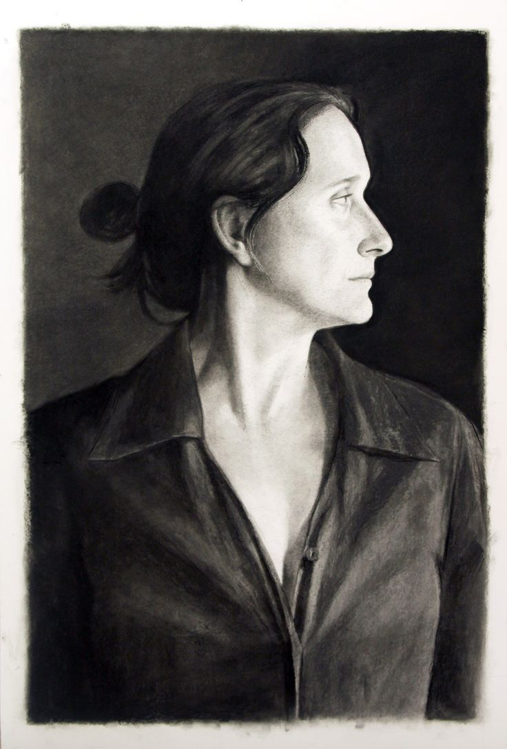 'Lucy', charcoal on mount board.