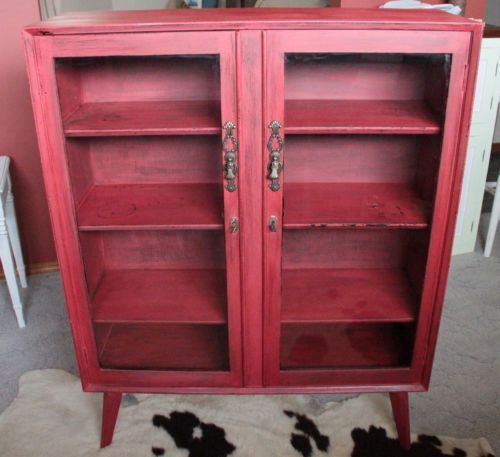 Diy Kitchen Cabinets Brisbane: Vintage Boho Style Buffet Cabinet Chippy Paint IN MMS RED