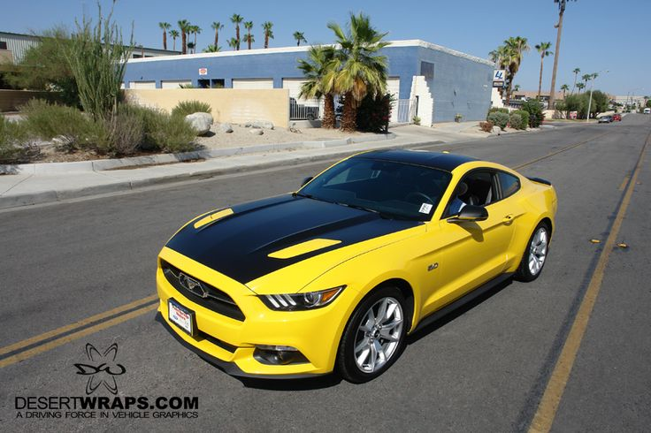 This new 2015 Ford Mustang is now two-tone with yellow and black. It's ready for the road! Contact DesertWraps.com at 760-935-3600  #Mustang #FordMustang #TwoTone #VehicleWrap #CarWrap Servicing Palm Springs, Cathedral City, Rancho Mirage, Palm Desert, La Quinta, Indian Wells, Indio, Coachella Valley.