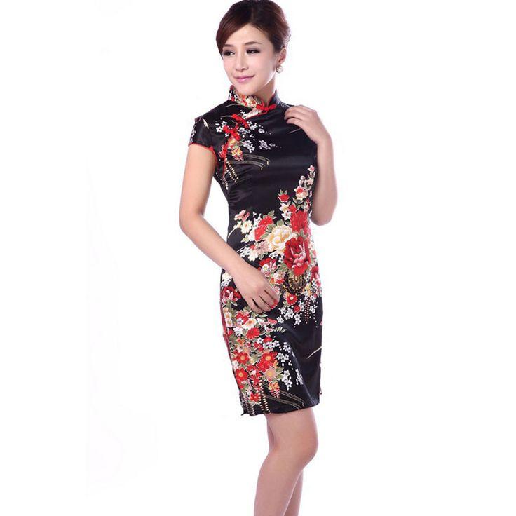 New Hot Women Short Sleeves Vestidos Vintage Qipao Silk Sexy Cheongsam Flower Print Chinese Traditional Dress Slim Party Dress