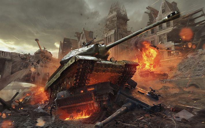 Download wallpapers World of Tanks, T-34, online game, World War II, USSR, Berlin, war