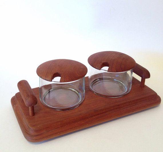 Mid Century Modern Danish Condiment Set / Teak Wood by MelbaMoon, $20.00
