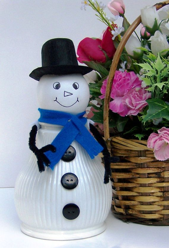 White Snowman Light Shade Glass Globe Christmas by handcreated4u