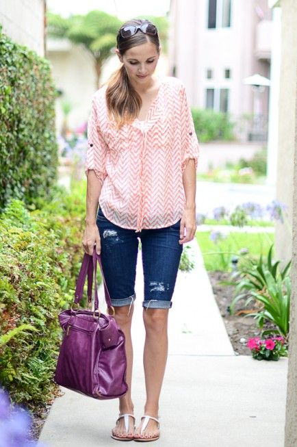 8 Mom Outfits: Day To Night.  Jean Cut-Off's – DAY  One of my go-to mom outfits is jean cut-offs and a breezy blouse. Easy and cute.