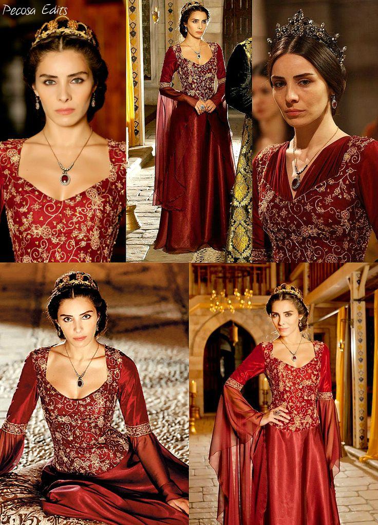 muhtesem yuzyil, magnificent century, mahidevran sultan, red dress - gold detailing