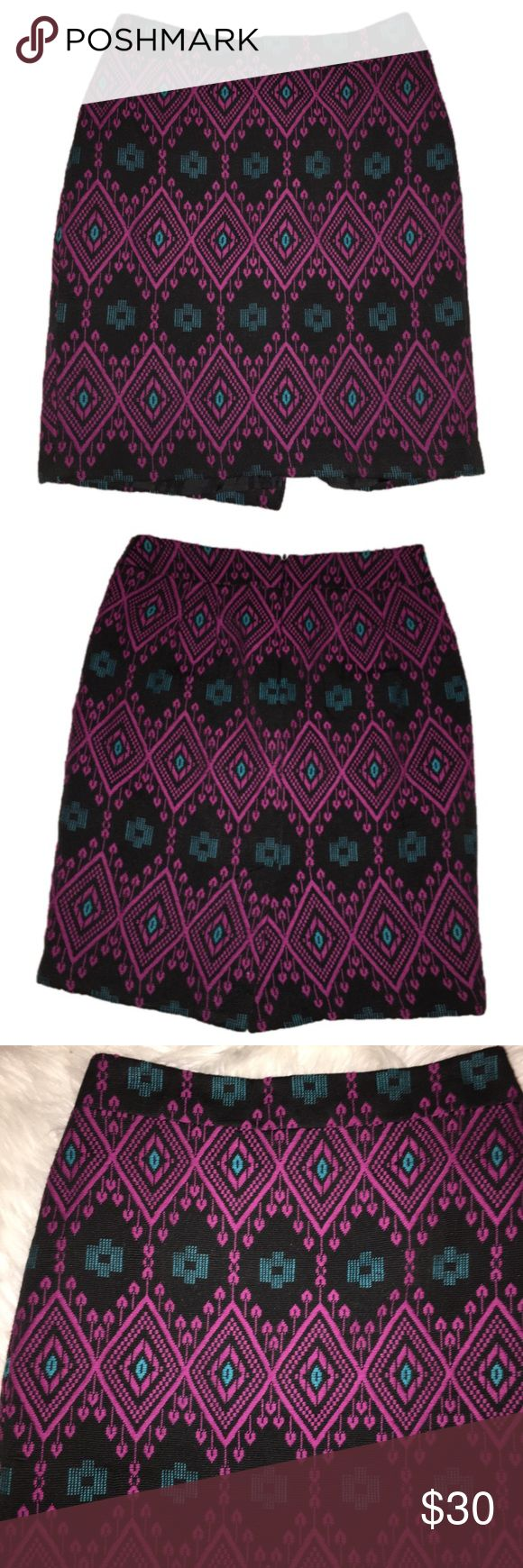 "Ann taylor Aztec print skirt Gorgeous skirt! Perfect for colder days since it's heavier material. This is from the petite line. Length 20"", waist 14"" laying flat. Beautiful colors including plum, turquoise and black Ann Taylor Skirts Pencil"