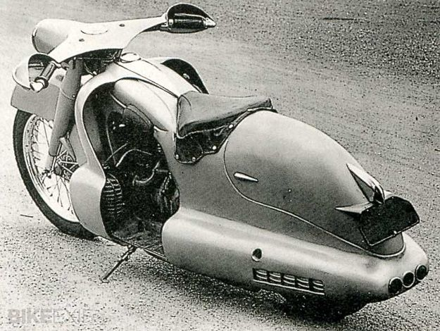 Louis Lucien Lepoix designed and constructed an extreme streamlined bike based on a BMW R12 chassis in 1947. Nice style.