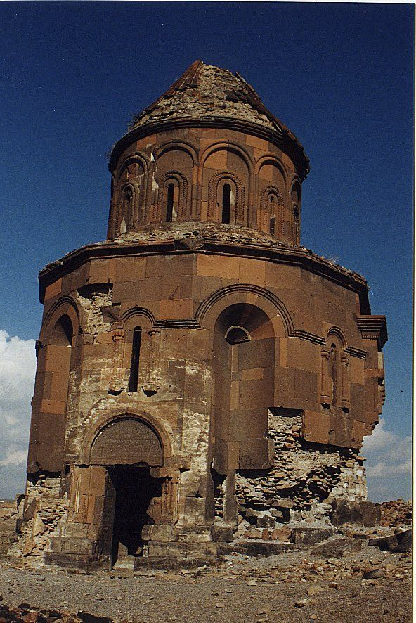 "A church ruin in Ani, an uninhabited, medieval Armenian city-site situated in Turkey near the Armenian border. Once the capital of a medieval Armenian kingdom that covered much of present day Armenia and eastern Turkey.  Was called the ""City of 1001 Churches"", its many religious buildings and fortifications were among the most technically and artistically advanced structures in the world.  In 1064 a Turkish army stormed the city and slaughtered its population."