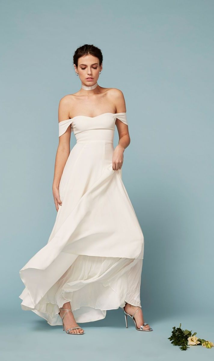 Reformation Off-the-Shoulder Wedding Dress // Where to Shop for Affordable Wedding Dresses: (http://www.racked.com/2015/6/1/8652985/cheap-wedding-dresses)