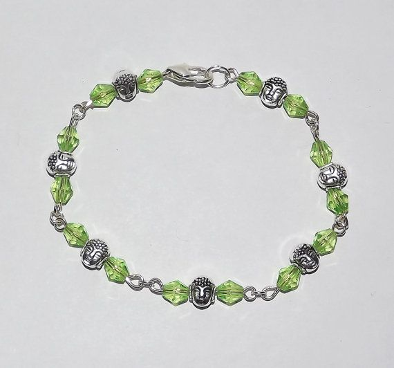 Beaded Bracelet  Buddha Sparkly Green  FREE UK P&P by KasumiCrafts