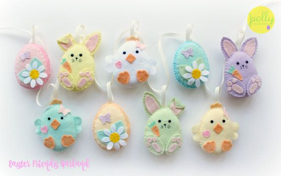 Felt Easter Friends Garland. Handmade set of 9 Easter decorations.