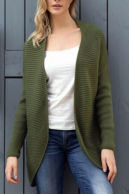 Army Green Ribbed Knit Lace Up Back Sweater Cardigan For Women ... ccd088aa7