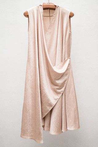Gold Satin Wrap Dress