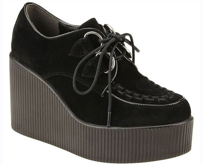 Black/Beige Platform Creepers Wedge High Heel Gothic Punk Lace Up Women  Shoes