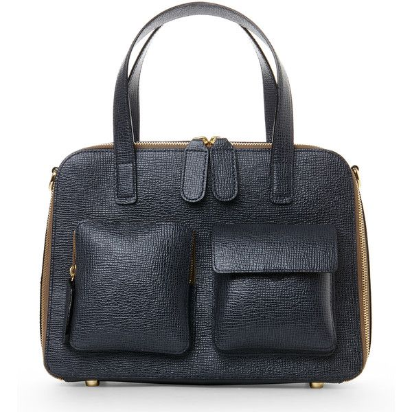 Orla Kiely Slate Textured Leather Bay Bag ($190) ❤ liked on Polyvore featuring bags, handbags, shoulder bags and white