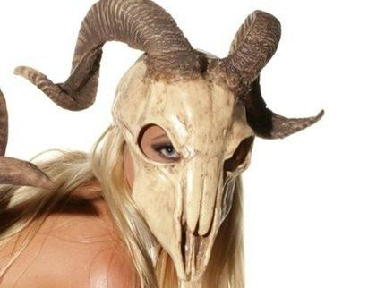 Urethane rubber ram skull mask with realistic horns size S/M