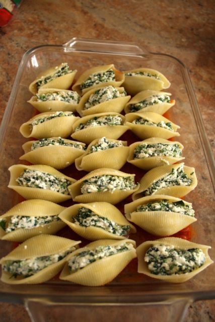 Spinach Ricotta Stuffed Shells. Yum! I added chicken and of course, extra cheese for our family.....easy easy!!