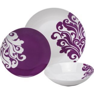 Buy 12 Piece Porcelain Damask Dinner Set - Purple at Argos.co.uk - Your Online Shop for Crockery.