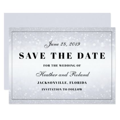Sparkly Lights Background Save the Date Card - elegant gifts gift ideas custom presents