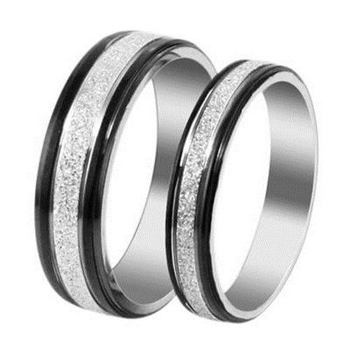 US$ 6.27 mens 5.5mm Black sides and Frosted white Titanium Steel inlay Promise Ring Love Couple Wedding Bands J28