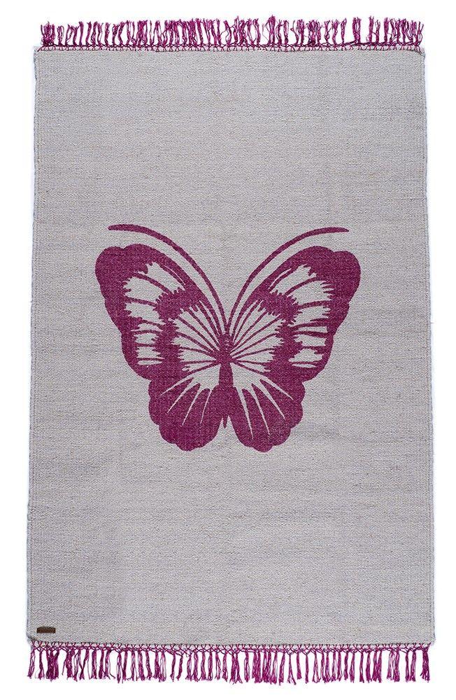 Tapis Varanassi Papillon pop 100% laine tissé à la main.