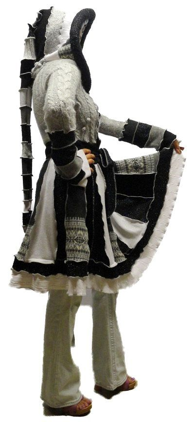 """Elf Coat --""""Winter Wonderland"""" Sparkle OOAK Upcycled Recycled Patchwork Fairy Sweater Coat with Medieval Hood - Small - AVAILABLE NOW. $225.00, via Etsy."""
