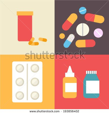 Pharmacy icons set, pills and capsules. Healthcare vector illustration made in…