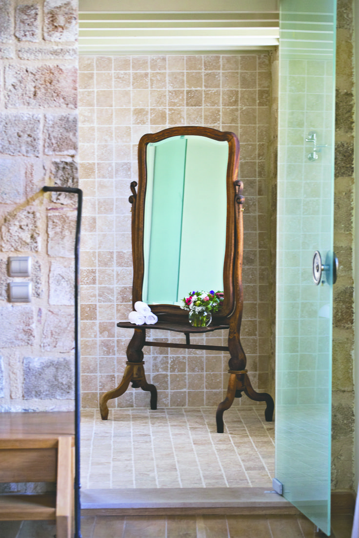 """EXCLUSIVE SUITES BOUTIQUE HOTEL. MEDIEVAL TOWN, RHODES, GREECE. - """"Irini"""" suite, the bathroom. Tailor's mirror. These mirrors were called """"psyche"""" (the soul). People who stood long enough in front of such mirrors to have their clothes fit, ended up confessing their secrets to their seamstress or tailor. - kokkiniporta.com"""
