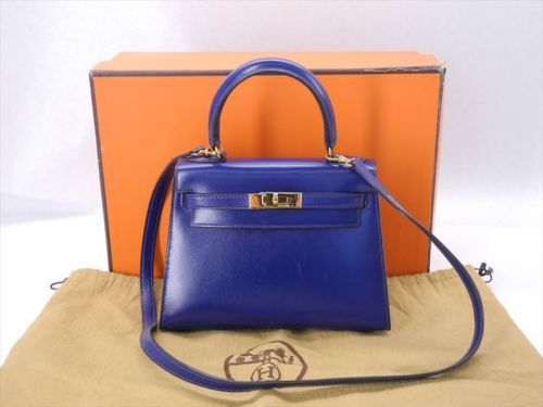 Auth hermes mini kelly navy golden box calf leather shoulder bag ...