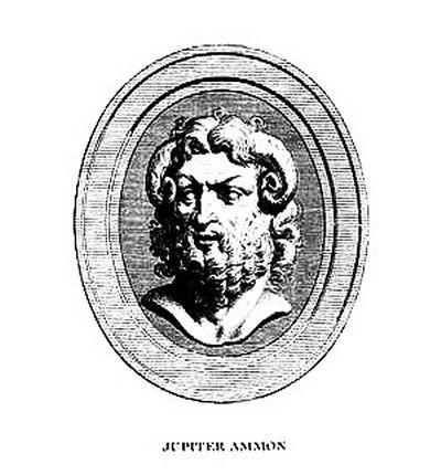 """Jupiter Ammon, aux cornes de bélier - Ammon, mot signifiant """"sablonneux"""", est le nom grec d'un dieu oraculaire de l'oasis de Siwa, située à 500 km à l'ouest de Memphis, capitale de l'ancienne Égypte. Les Égyptiens l'identifièrent avec leur dieu suprême Amon, et appelèrent ce dieu oraculaire Amon de Siwa. Alexandre le Grand prétendit être le fils d'Ammon, dieu que les Grecs identifiaient à Zeus."""