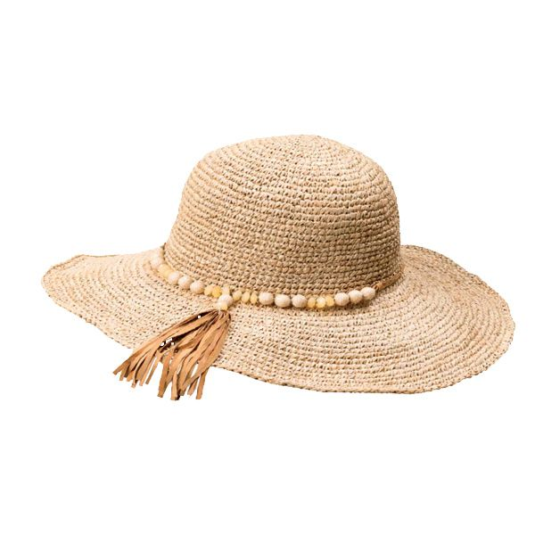 Ban rays beautifully with Flora Bella's Johanna Straw hat in natural. With a beaded suede band, fringed tassel and adjustable wire trim brim, the crocheted raffia hat emits effortless luxe.  www.flora-bella.com