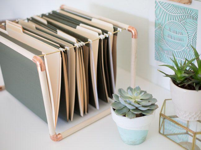 DIY Mixed Metal File Folder Hangers