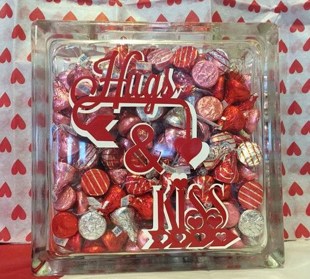 Valentine Hugs and Kiss 8X8 glass block More