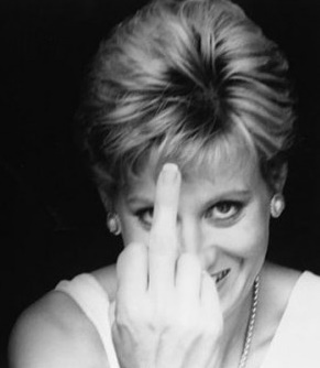 Princess Di and her very lady like artistic gesture. Love it. Dipshit!