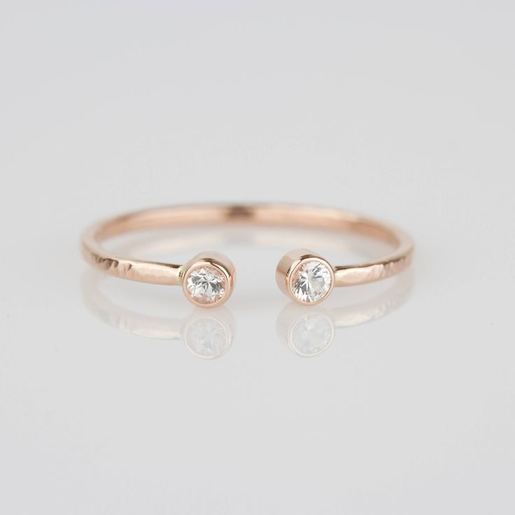 14k Rose Gold - Dual White Diamonds Modern Toi et Moi Ring - 14k White or Rose or Yellow Gold Stacking Ring - Delicate Open Cuff Ring Mary John Ventre